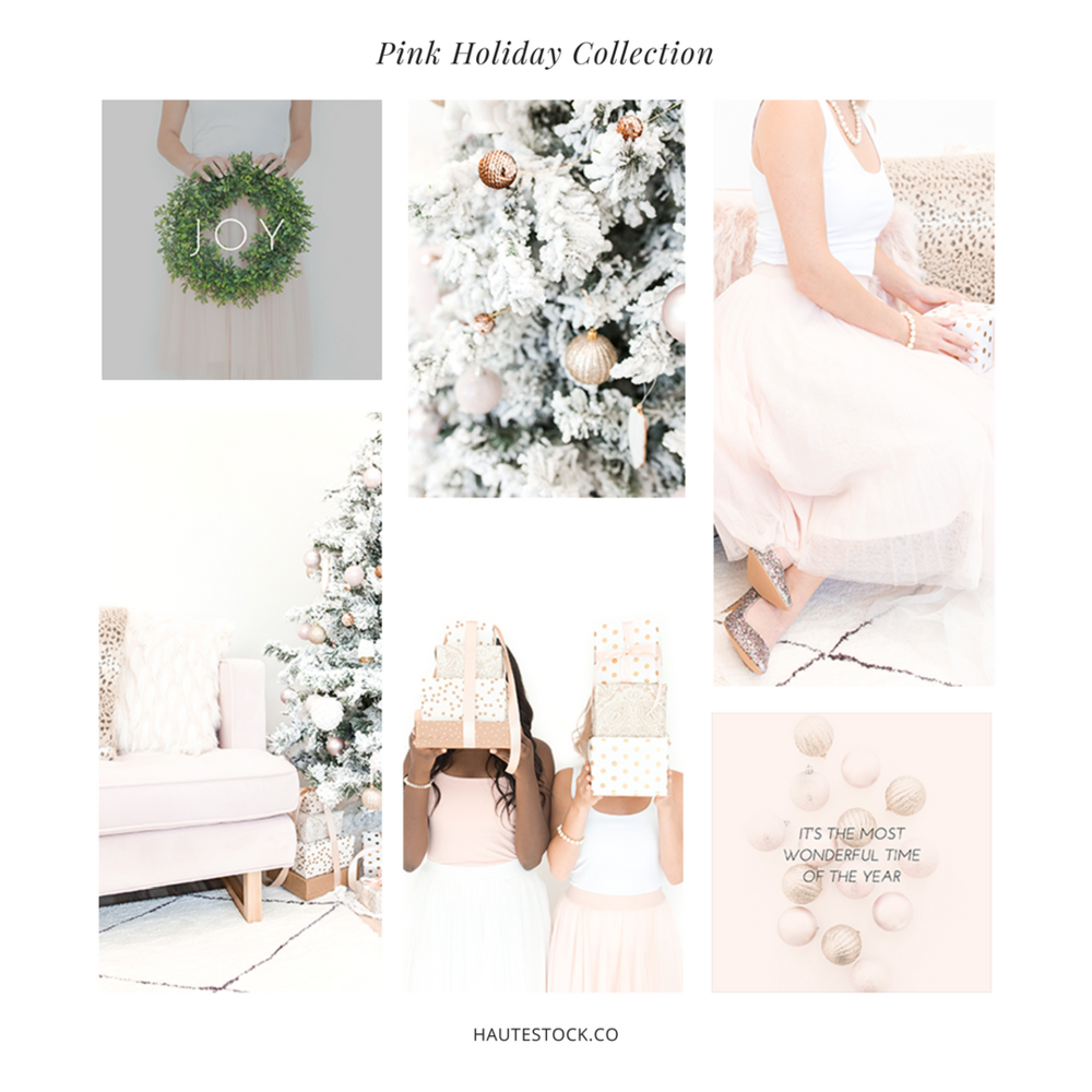 A small sample of the Pink Holiday Styled Stock Photography Collection by Haute Stock