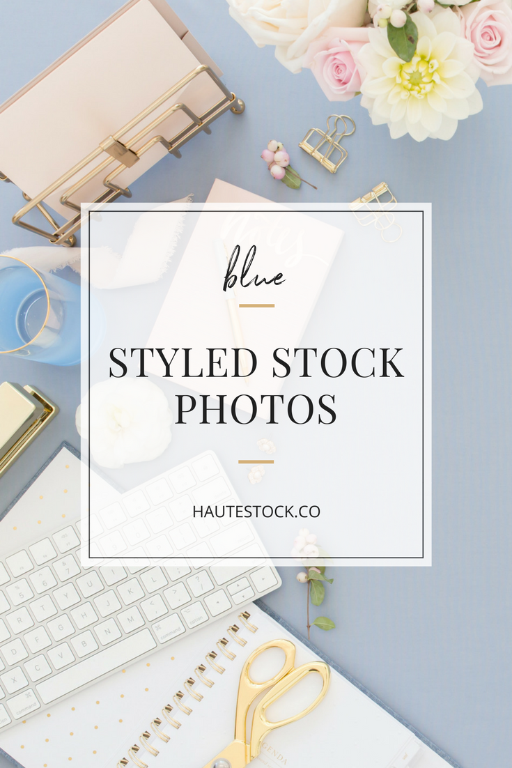 These pretty blue and blush pink styled stock photos from Haute Stock are perfect for stationery designers, wedding planners, and creative entrepreneurs!