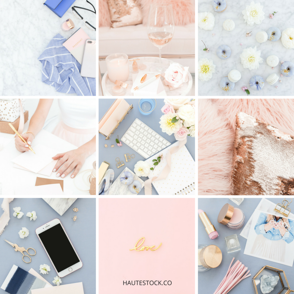 Pink and blue styled stock photos from Haute Stock are the perfect way to dress up your brand with stylish imagery that gets noticed.