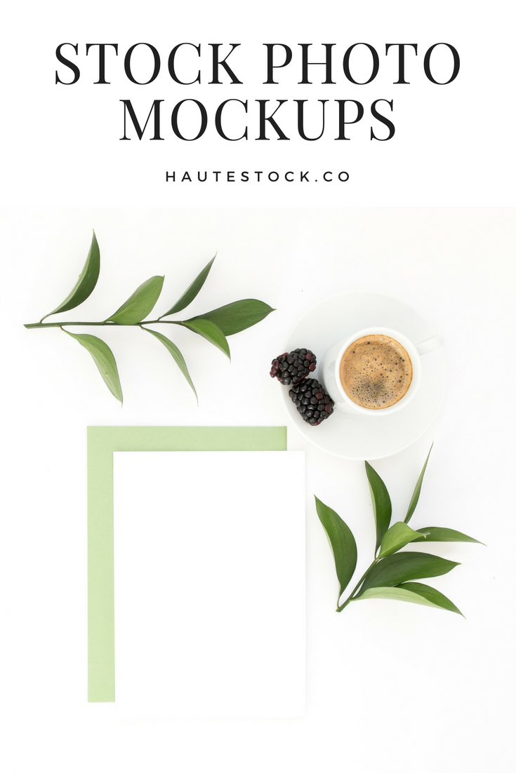 Simple greenery styled stock photo mockup of invitation card design for product creators and Etsy sellers from the Haute Stock Library