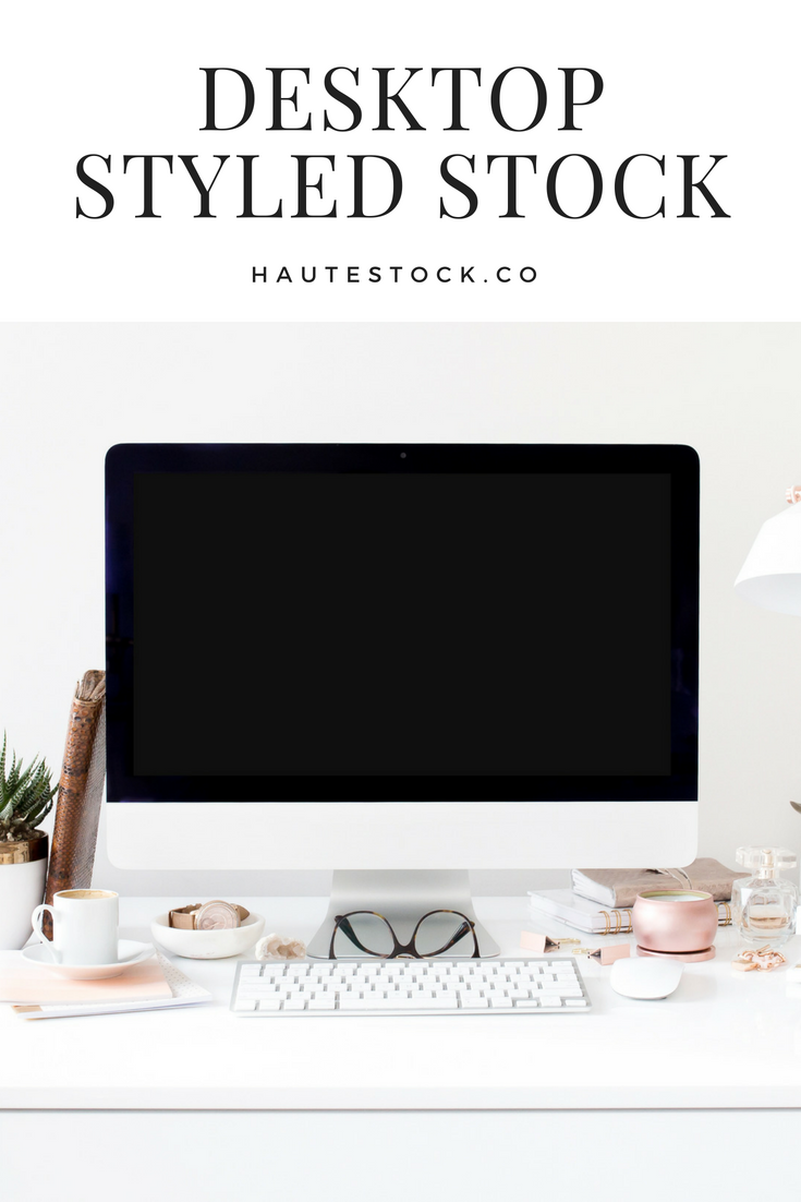 This styled stock photography mockup of a desktop computer features feminine rose gold and peach accents from the Haute Stock Library