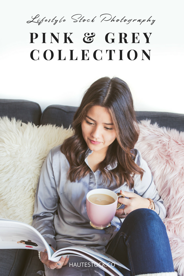 A female entrepreneur works from home on the couch with her laptop and coffee. Denim, pink and grey accents make this collection from Haute Chocolate soft and feminine while still modern and trendy