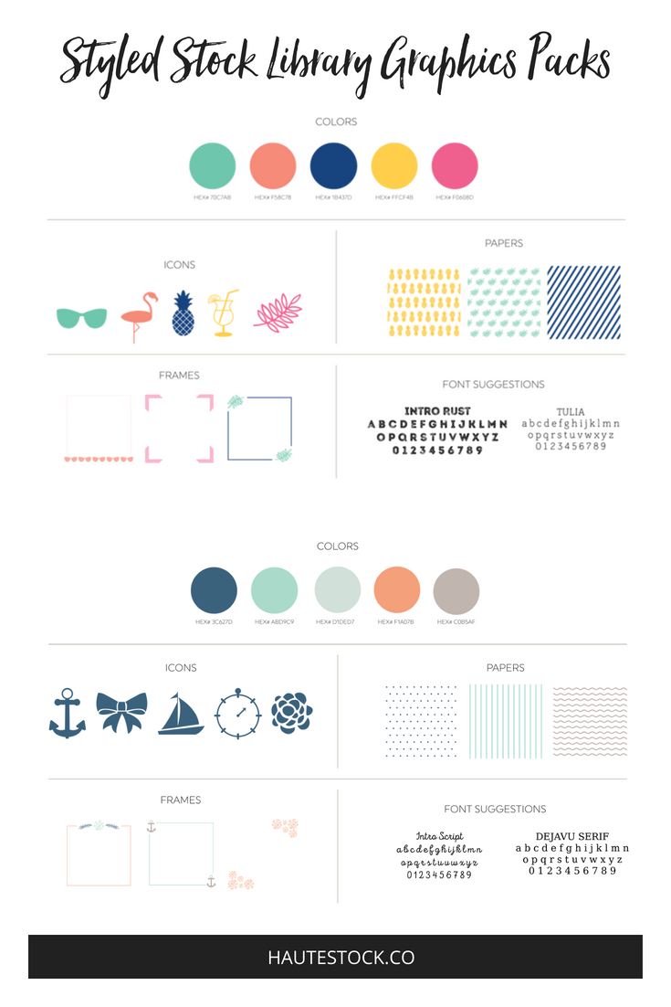 Summer brand style guide from the Haute Stock Library