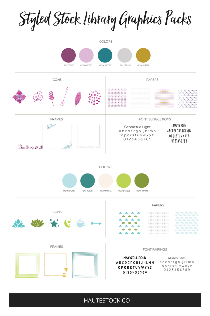 Wellness Brand Style Guide Brand Board from the Haute Stock Library