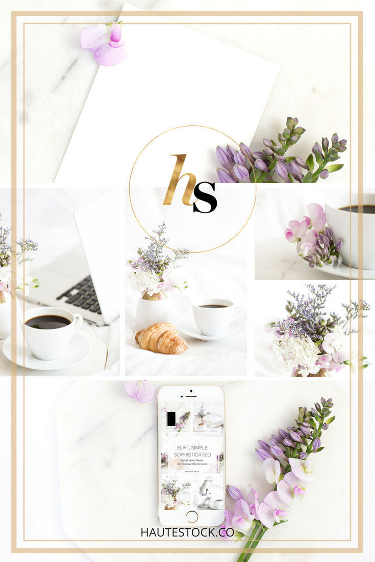 Haute Stock's example of how to add your own branding and designs to stock photo mockups!
