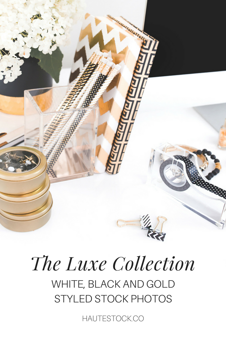 These Haute Stock photos are classic and classy with a black, white and gold color combo. Click to see more of the Luxe Collection!