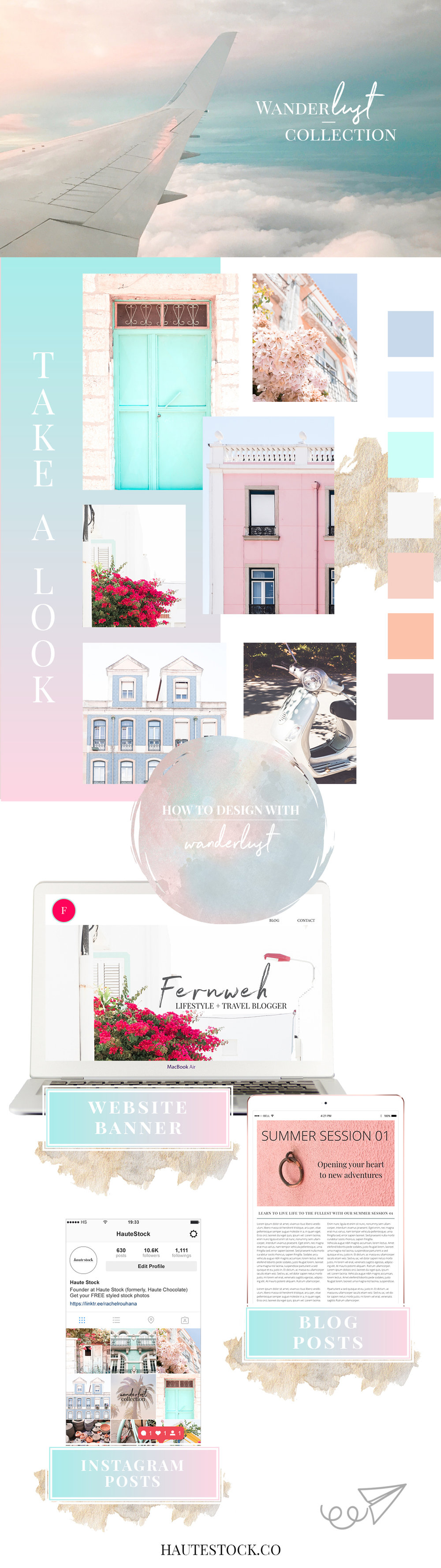 Take a look at Haute Stock's dreamy travel collection Wanderlust. The collection is a travel inspired collection filled with the beauty of the little details, landscapes and architecture viewed around the world.