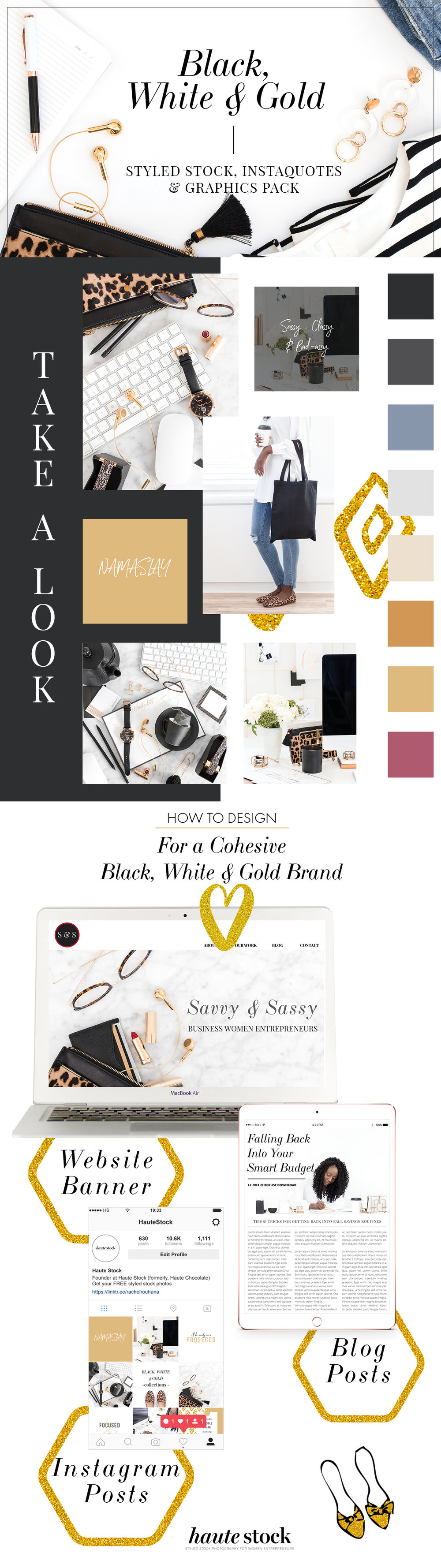 Haute Stock has the sophisticated and chic black, white and gold stock photos you need for your brand! These collections go together beautifully to create a cohesive brand look. If you want to elevate your brand - click to get a preview of the collections!