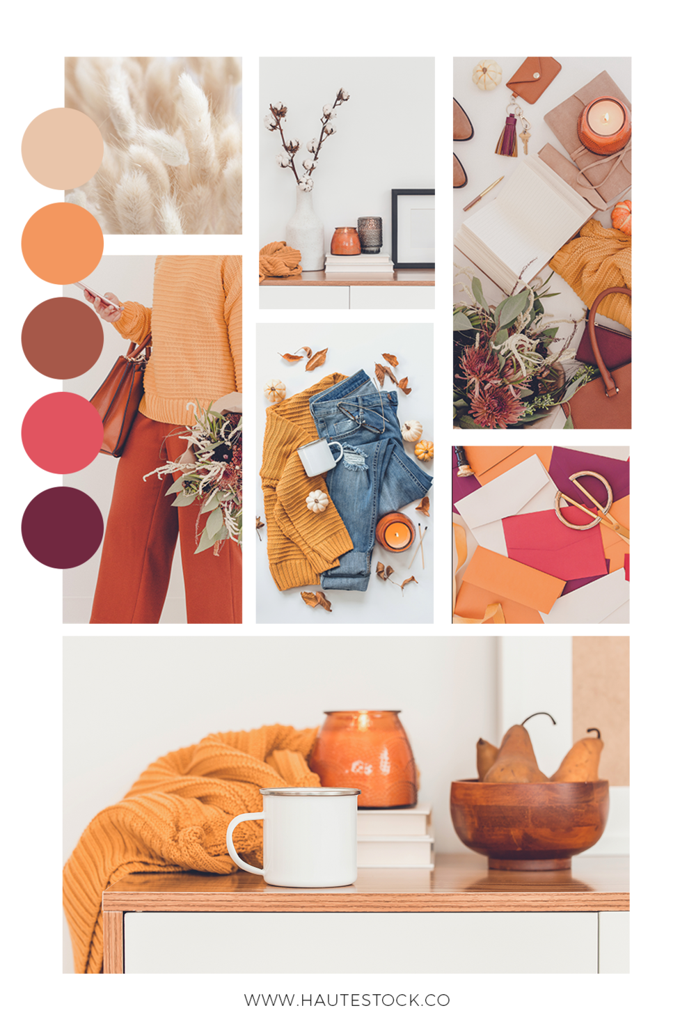 These modern autumn stock photos from Haute Stock are a modern take on a traditional color palette. We've taken orange and brown and paired them with neutral tan, beige and burgundy for an interesting update to Fall styled stock photography. Click to view more images from this collection!