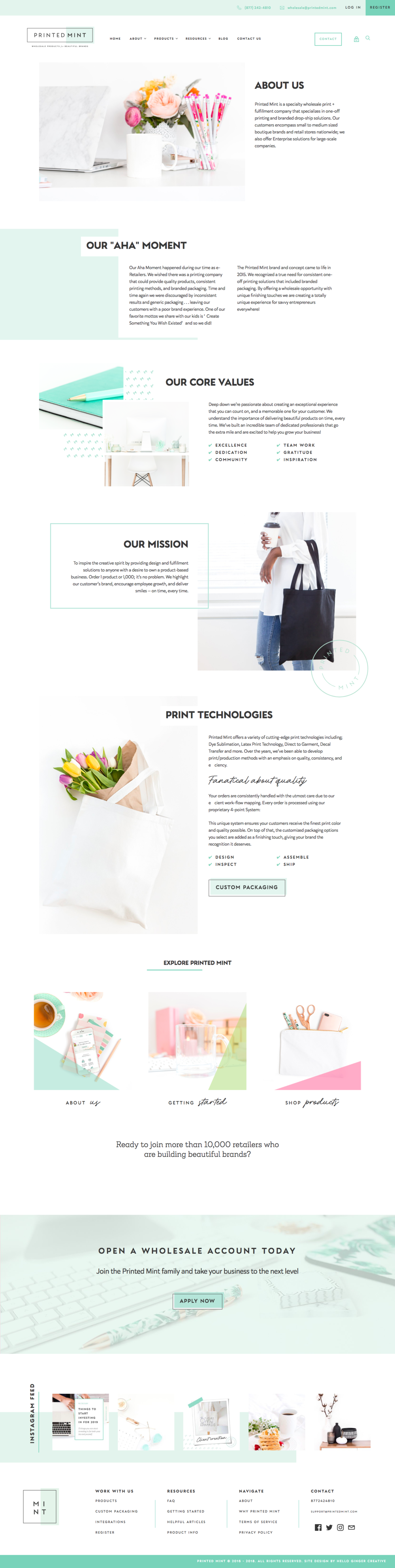 Printed Mint's About Page - Patterned backgrounds, on-brand colored overlays, strategically placed logos, and different image perspectives (pulled back, close-up, lifestyle, flatlay) offer a unique look to your visuals. Be sure to choose images of a similar color palette in order to keep the different elements cohesive.