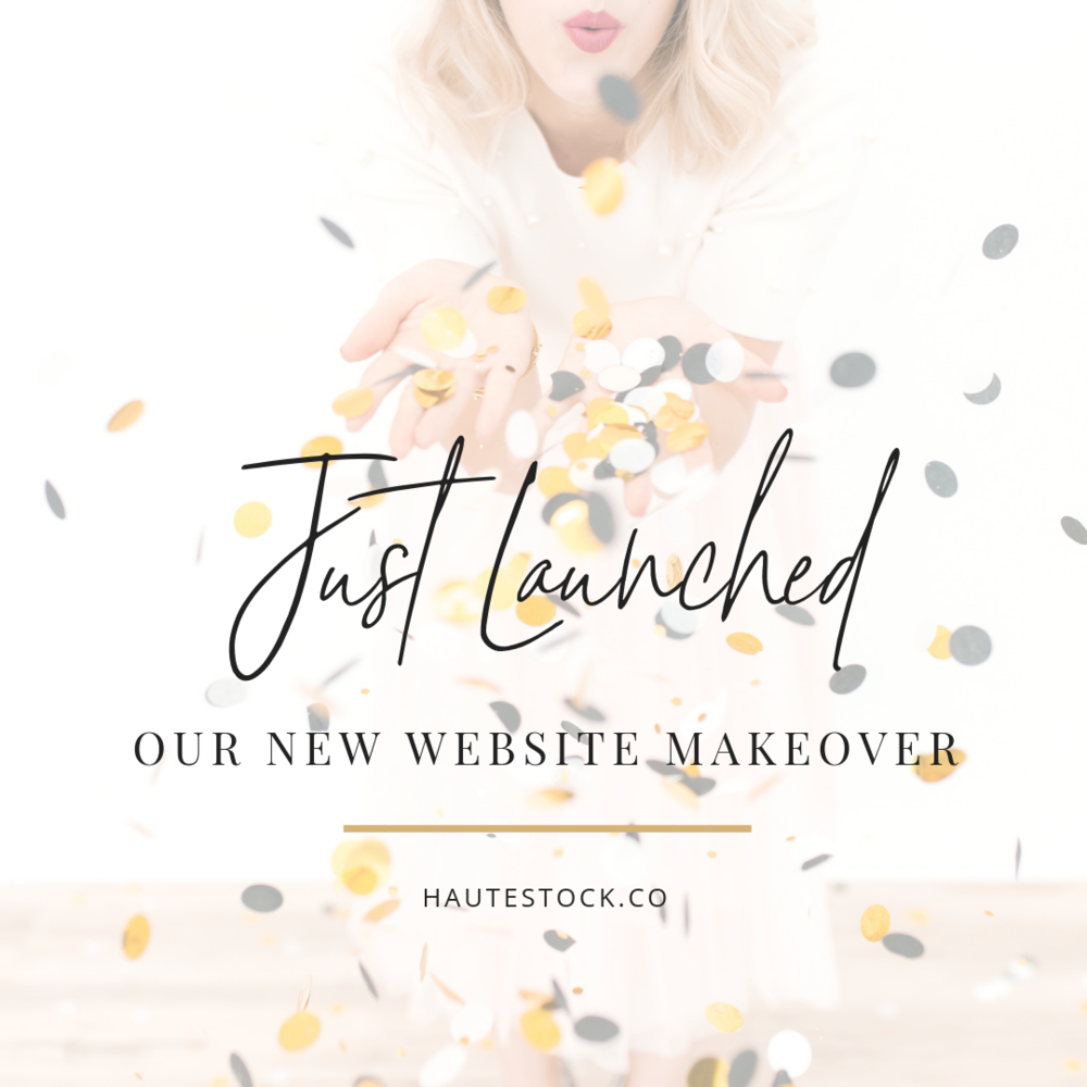 Example of a launch graphic using celebration styled stock photos. This image is from Haute Stock's Pop the Pink Collection. Get everyone excited about the launch of your newest project with confetti.png