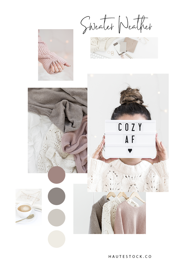 Haute Stock Lifestyle Photography - Sweater Weather Collection is all about the cozy, neutral feels in a soft brand palette of pink, taupe and beige.