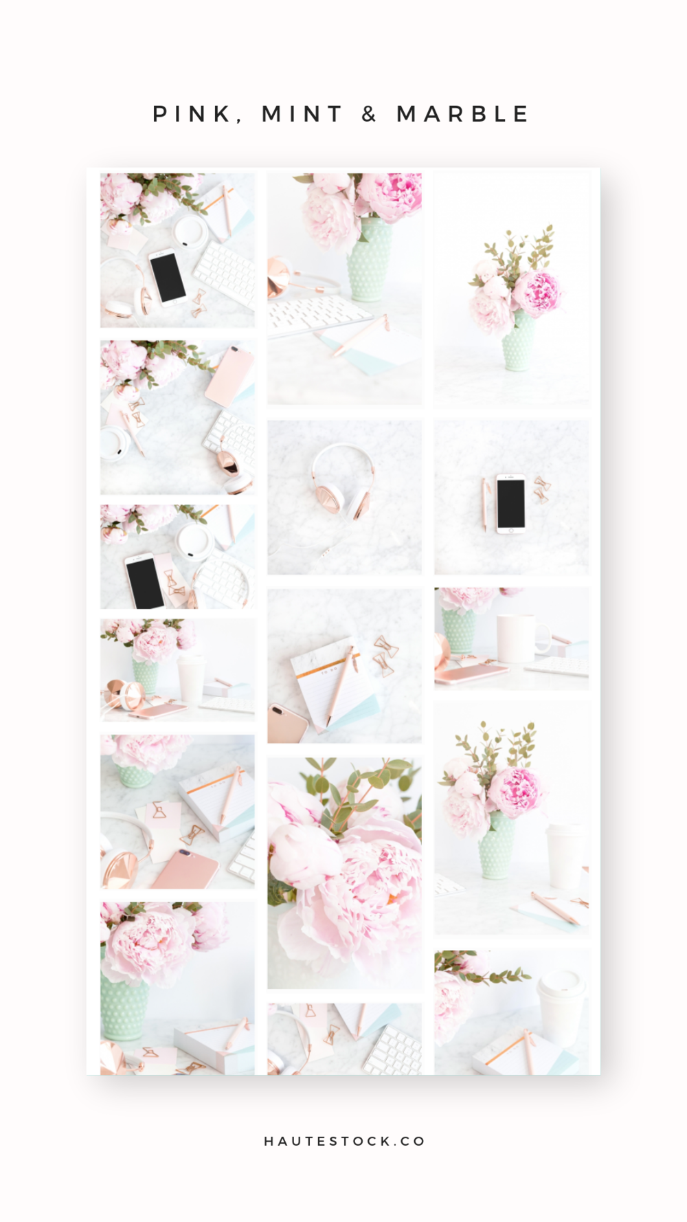 Haute Stock's Pink, Mint and Marble styled stock photo collection is perfect for brands that need feminine styled images that are beautiful and high-quality.