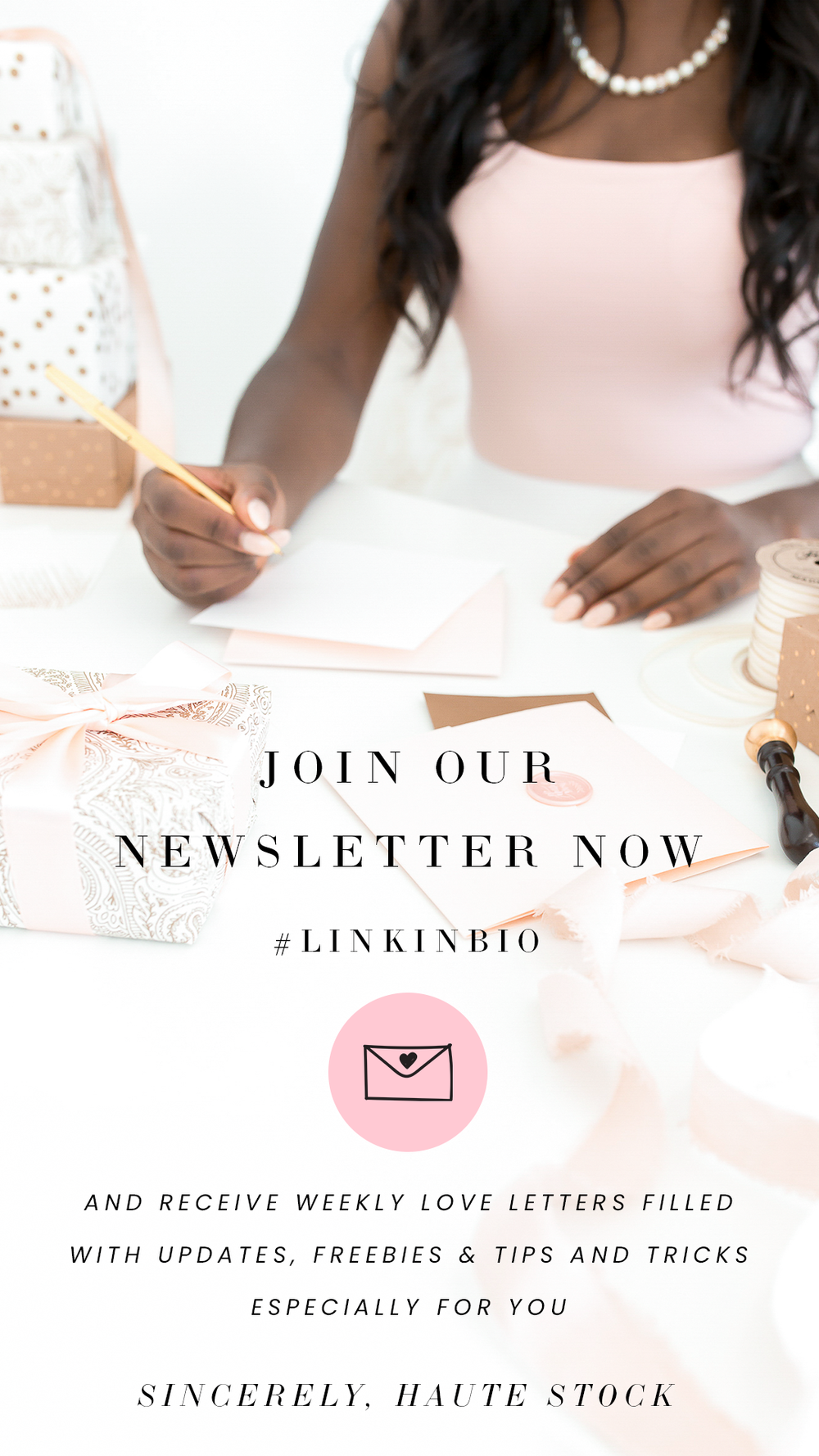 Create feminine newsletter opt-in graphics with Haute Stock's Valentine's themed collections. Click for more inspiration!