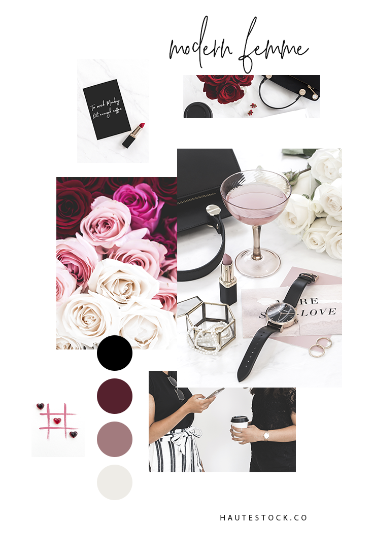Roses, lipstick, simple jewelry, modern sophisticated fashion - all featured in Haute Stock's new collection: Modern Femme. This collection has a romantic vibe, perfect for your upcoming Valentine's posts but versatile enough for all year round.