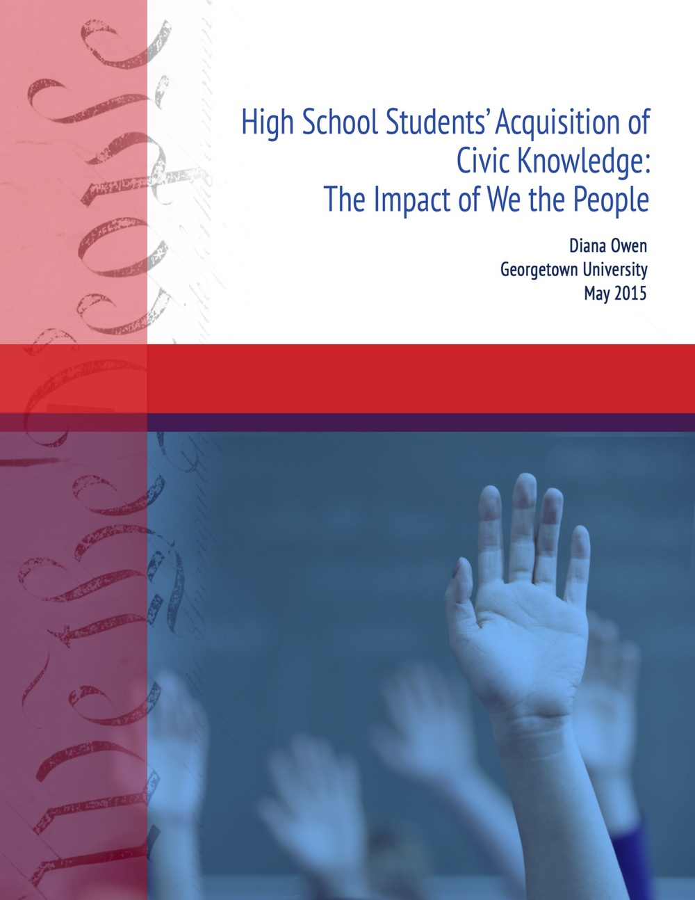 A cover page for a Georgetown University and Center for Civic Education (CCE) report on knowledge acquisition in  We the People  civic education classrooms. This design includes three thematic iterations, adorning the cover of two subsequent reports currently in progress. Access the full report, which I contributed to as a Research Assistant, on the  CCE website .
