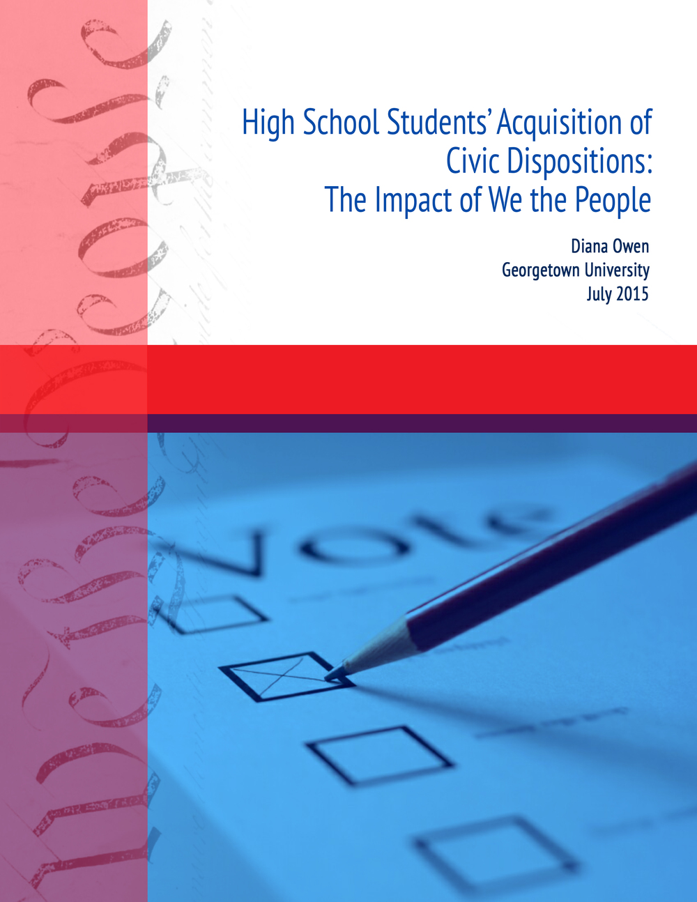 A cover page for a Georgetown University and Center for Civic Education (CCE) report on civic dispositions in We the People civic education classrooms. This design includes three thematic iterations, adorning the cover of two subsequent reports currently in progress. Access the full report, which I contributed to as a Research Assistant, on the CCE website.