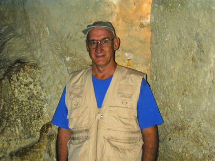 Don in a tomb in one of the pyramids