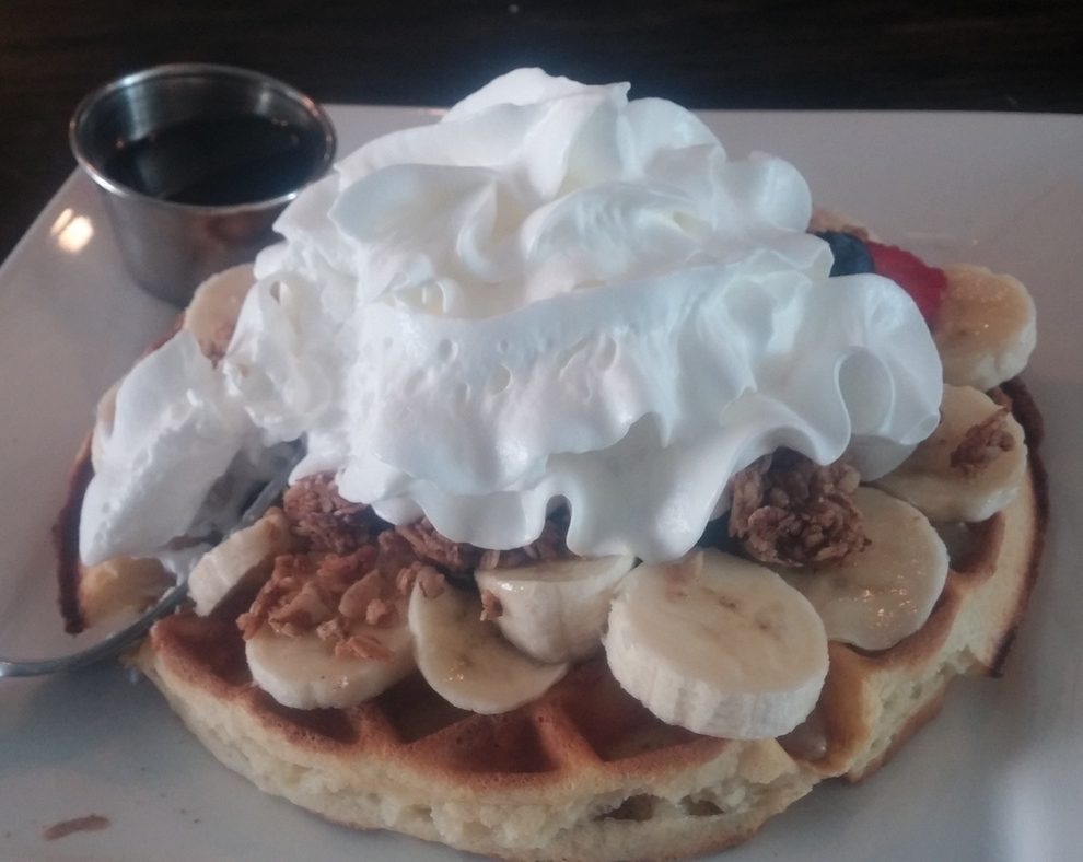 The Famous Naughty Waffle. With lotsa whipped cream.