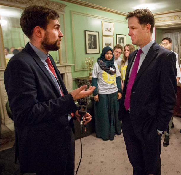 Joshua speaking with then Deputy Prime Minister Nick Clegg