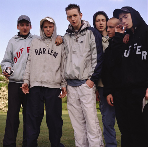 Teenagers in sportswear and 'Hoodies', these groups got the nickname 'Chavs'. London 2000s. ©Matt Fagg/PYMCA
