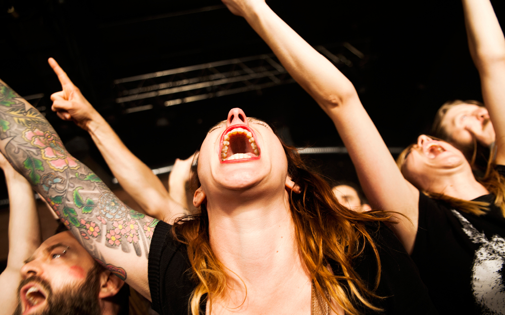 This Kvelertak-fan seems almost ecstatic over the concert with the Norwegian black metal band. Denmark 2013. © Gonzales Photo/Helena Lundquist / PYMCA