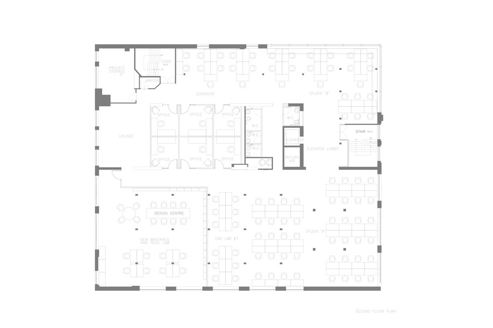Ryerson's School of Interior Design   Second Floor Plan