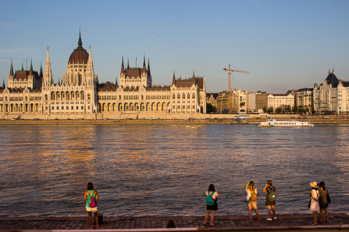 Tourists at Hungarian Parliament building
