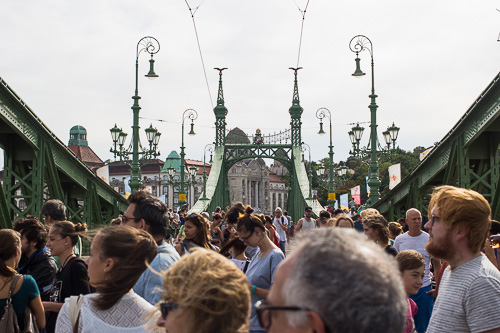 party on the liberty bridge in budapest