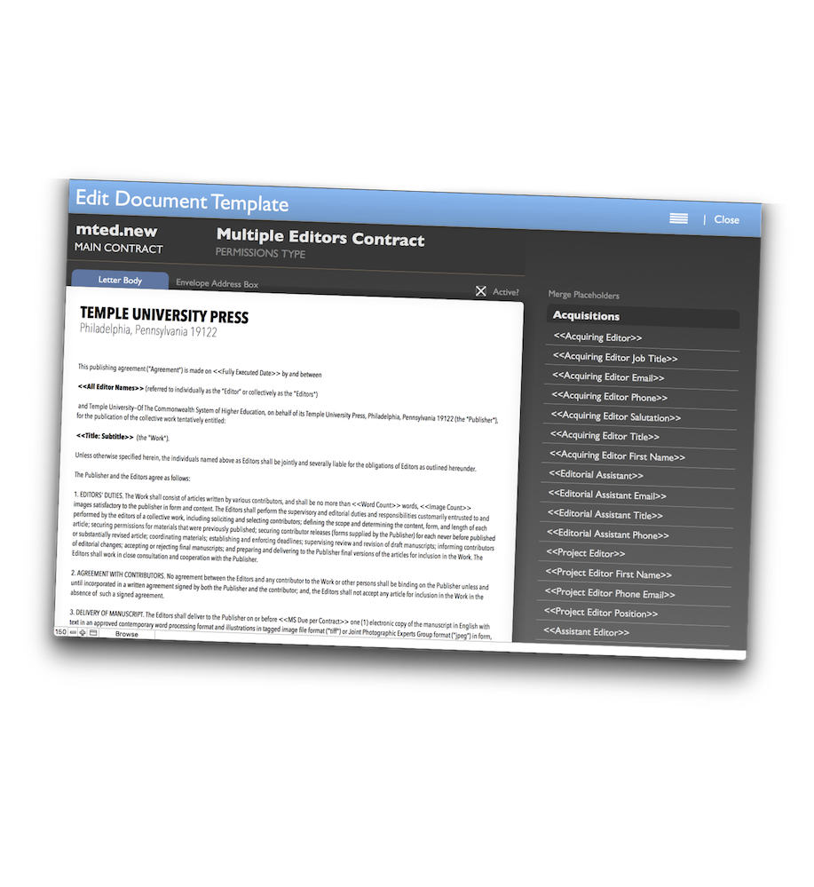 The PressWorks Document Engine: instant contract & correspondence.
