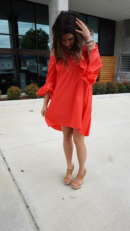 14723b85e06 POPPY RED N NICHOLAS OFF-THE-SHOULDER COTTON DRESS — JbirdStyle