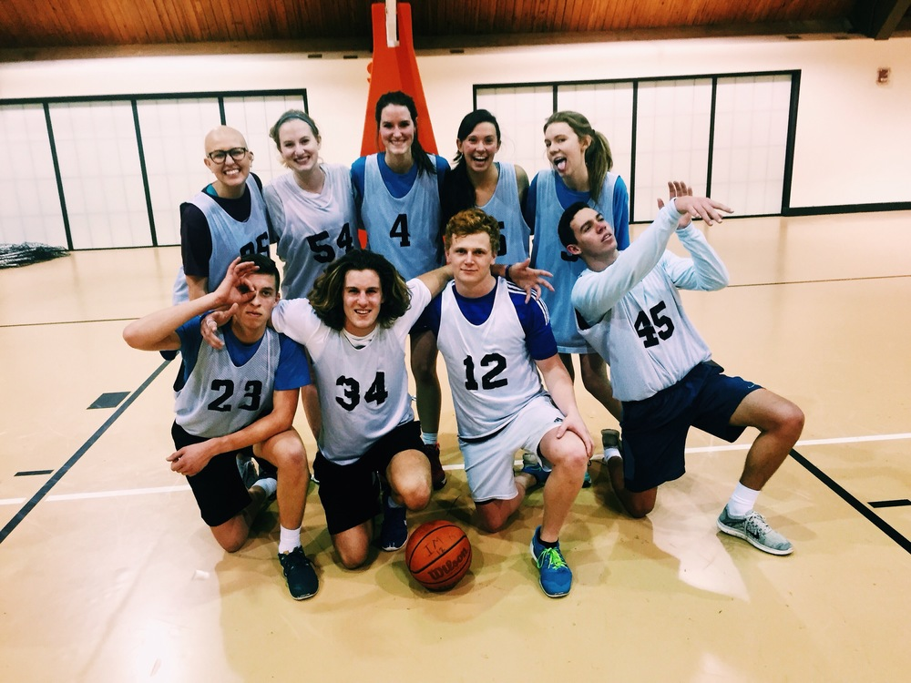 Many of you may be INCREDIBLY surprised that I played on an intramural basketball team this semester, but these buds accepted me for my lack of basketball skills. We never won any games, but we always entertained the other team.