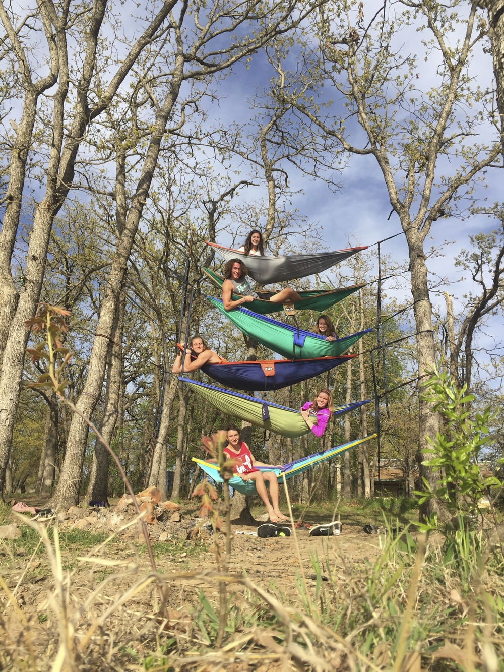 We had an evening of paddle boarding and hammocking at McMurtry! The boys get all of the credit for the hammocks stacked that high.