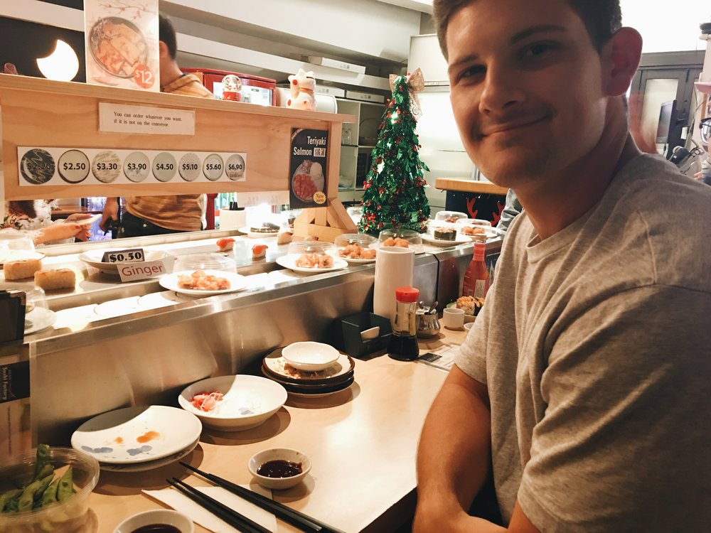 Cooper and I ate at a sushi conveyer belt place (idk what it's called)!!!! This was my first time at one of these things. I liked it.