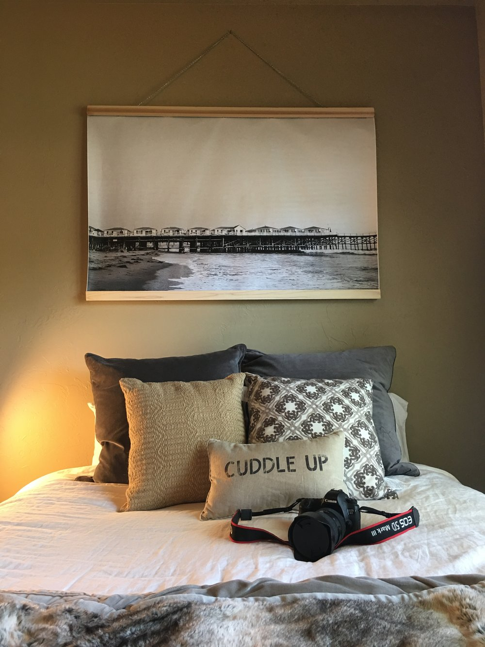 I got all moved in! I printed a photo from this summer and created a frame for it so I could hang it above my bed!