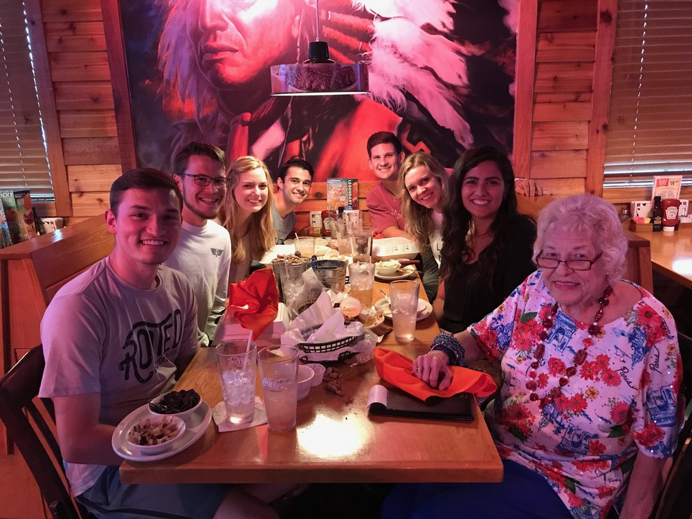 Cooper, Wyatt and Austin's neighbor, Mary, took us all to Texas Roadhouse one evening.