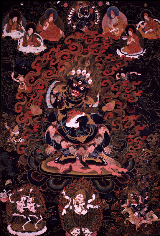 Mahakala (Buddhist Protector) Panjarnata (Lord of the Pavilion), Tibet, ca. 1700 - 1799, Lineages Sakya, Ground Mineral Pigment on Cotton, The Rubin Museum of Art