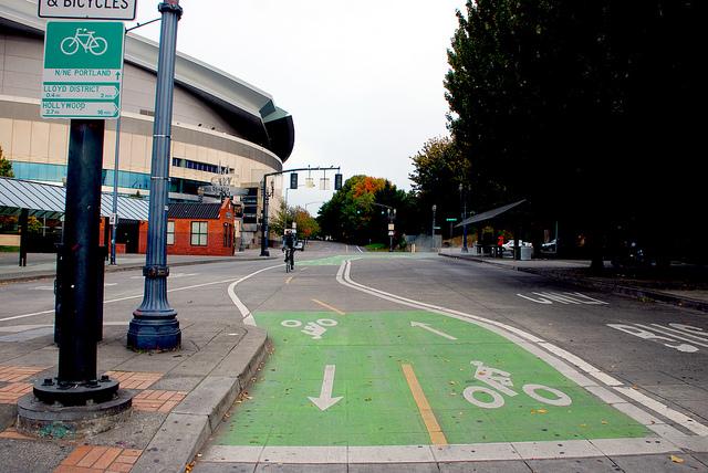 A Bike Lane in Portland, Oregon via  Flickr