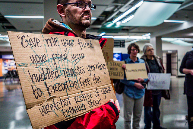 protest at the Iowa airport  via Flickr  by Phil Roeder