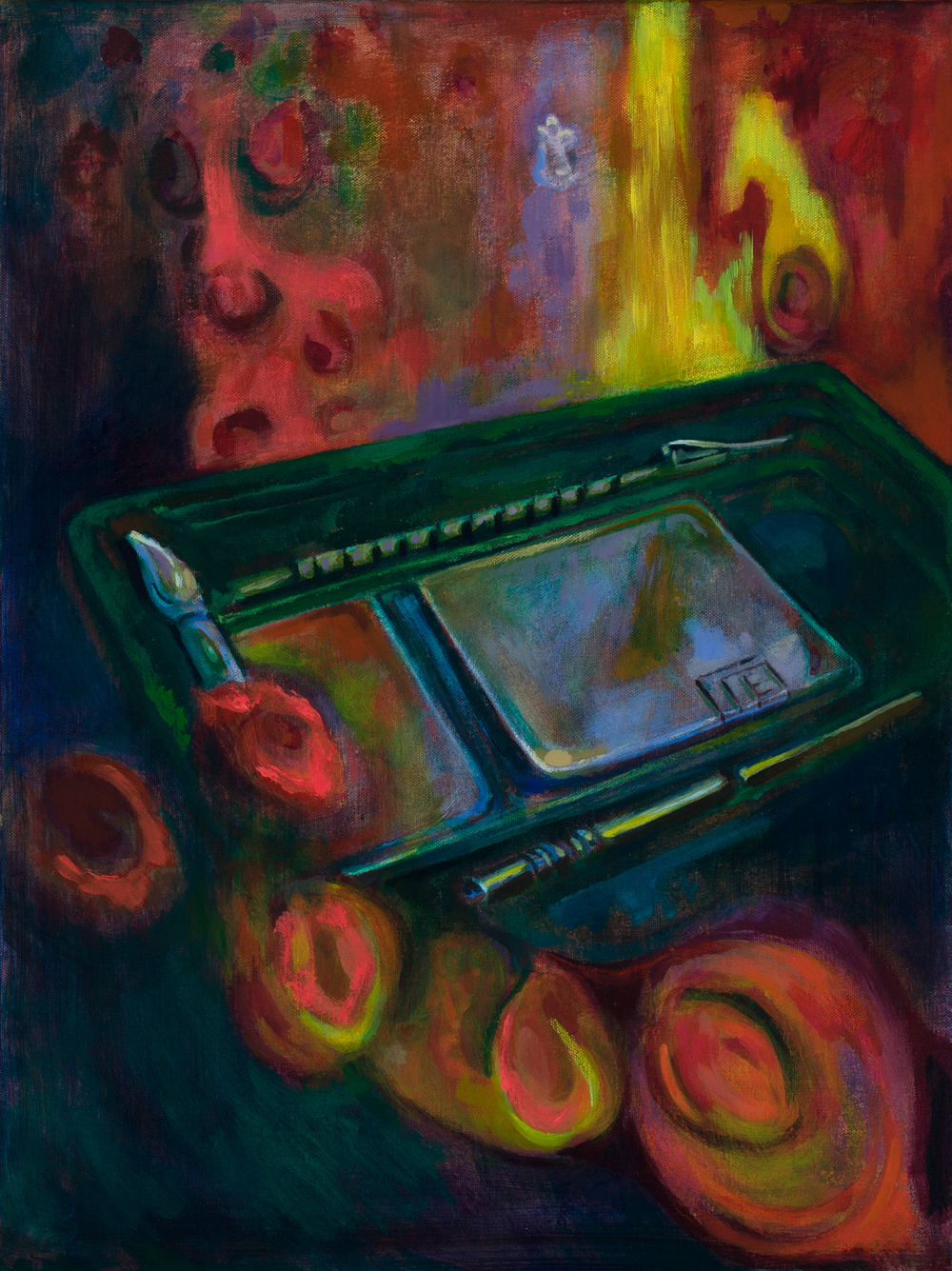 My Father's Blood Draw Kit. Betsy Andersen. Acrylic on canvas. Fall 2015 Intima.