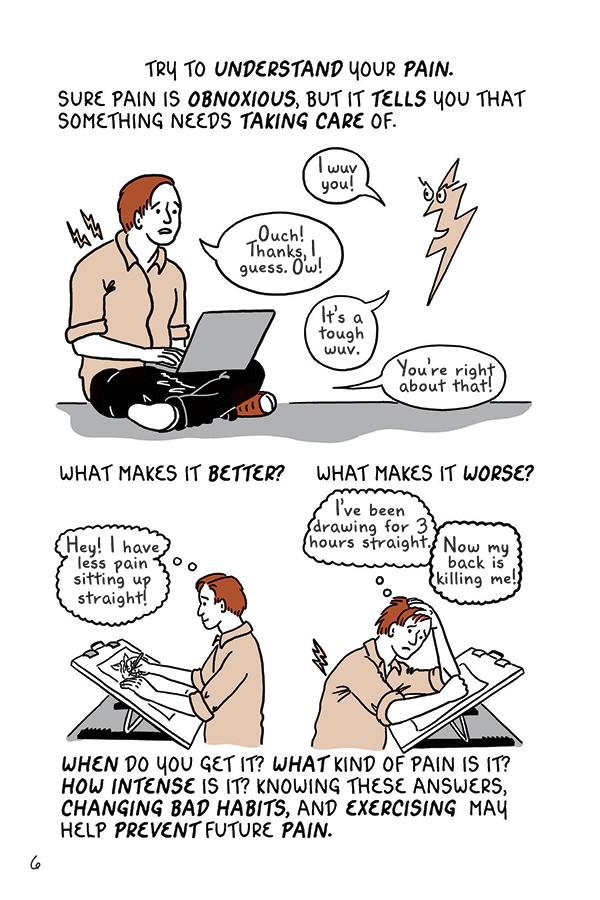 "Think about how you sit, stand and hold your body during the workday. Shown here: An illustration from  ""Draw Stronger: Self Care for Cartoonists & Visual Artists"" by Kriota Willberg published by Uncivilized Books."
