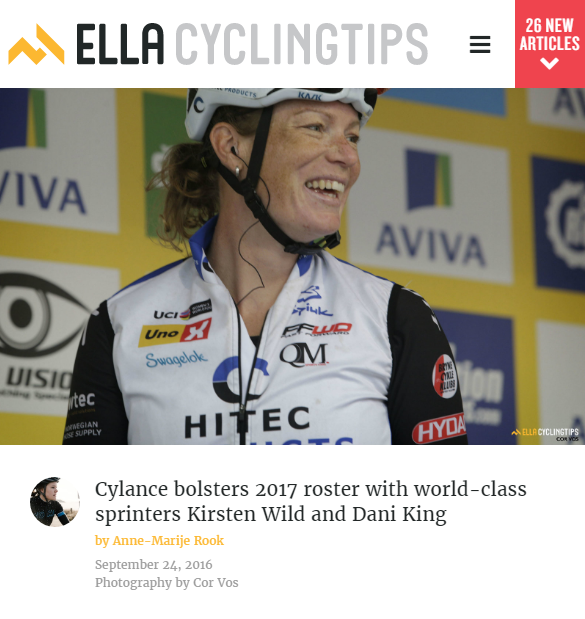"In speaking to Ella CyclingTips on the phone, Wild said that the idea of transferring to an American team was sparked during the Amgen Women's Tour of California this year. ""I very much liked the idea of racing in the US,"" Wild said. ""I can't quite put my finger on it but I think it's very cool. The Tour of California this year was such a cool experience."" Wild will continue to race mostly in Europe, but she does hope to explore some of the American criterium scene."