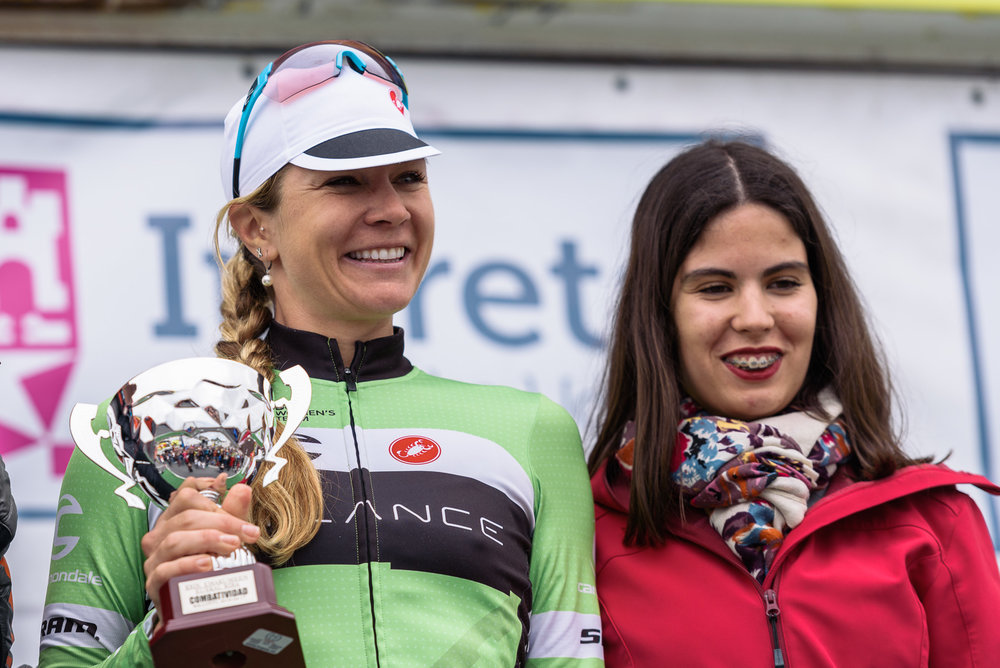 Alison on the podium as the most aggressive rider in the Emakumeen Bira Stage Race.