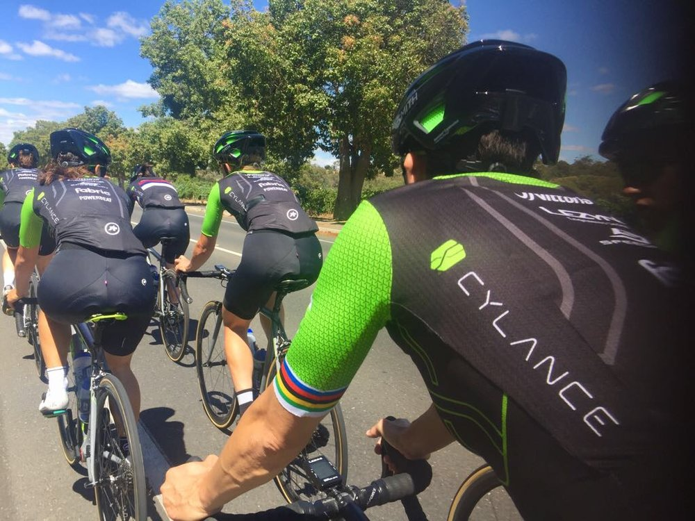 The team shows the new kit in a training ride prior to the Santos Tour Down Under.