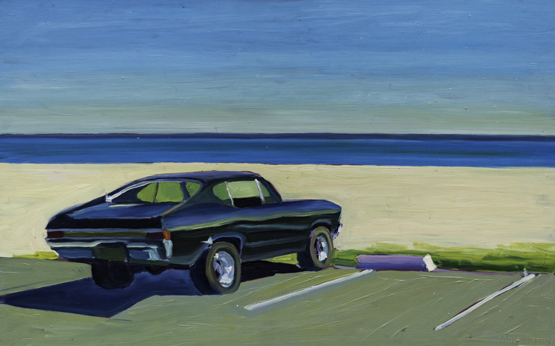 """Chevy"", oil on masonite, 18""x 30"""