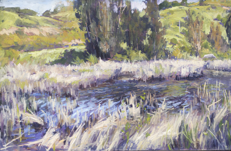 """Larkspur Landing Pond"", Oil on masonite, 27"" x 39"""