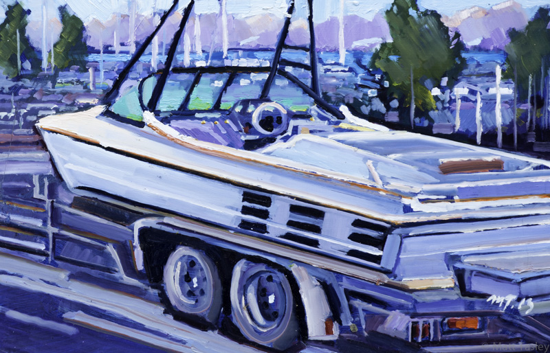 """Police Boat"", Oil on masonite, 12"" x 28"""