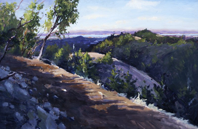 "San Francisco Bay from Mt. Tam"", Oil on masonite, 33"" x  57"""