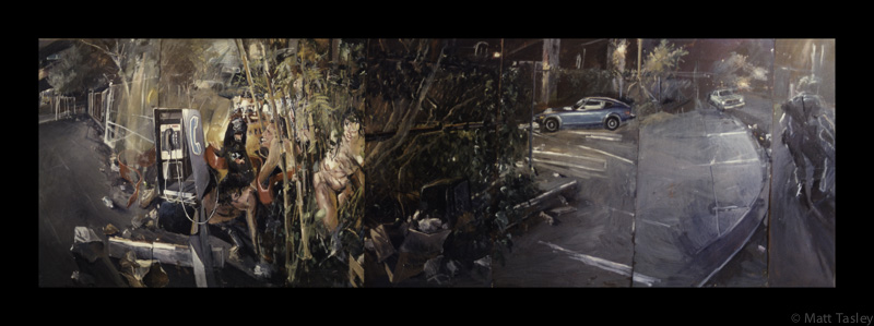 """Hayes Valley Night Scape"", Oil on masonite, 84""x 300"""