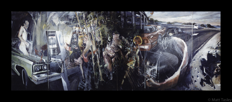 """Hwy 101 to Richmond"", Oil on masonite, 84""x 300"""